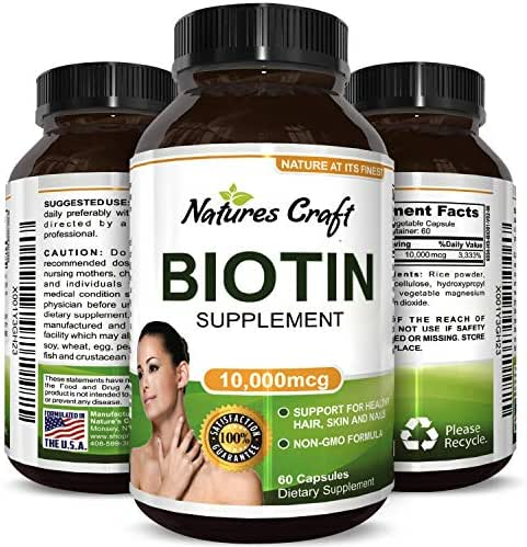 Pure Biotin Supplement - Vitamin B7 for Hair Loss - Strengthens Hair to Reduce Breakage - Good for Skin and Nails - Aids Digestion and Helps Stop Thinning Hair - For Women and Men
