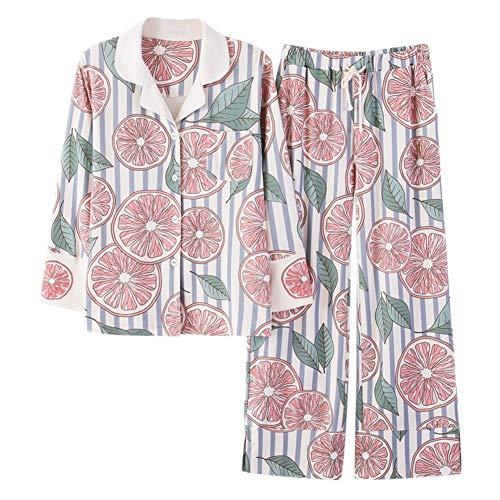 Larga Traje Pijamas Y Dulce Invierno Primavera Manga Casa Pantalones Casual Mujeres Solapa Algodón Otoño Conjunto De Correa OZFqORnr