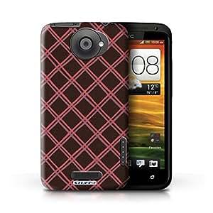 Kobalt® protector duro de nuevo caso / cubierta para el HTC One X | Rojo/negro Diseño | Criss patrón cruzado colección