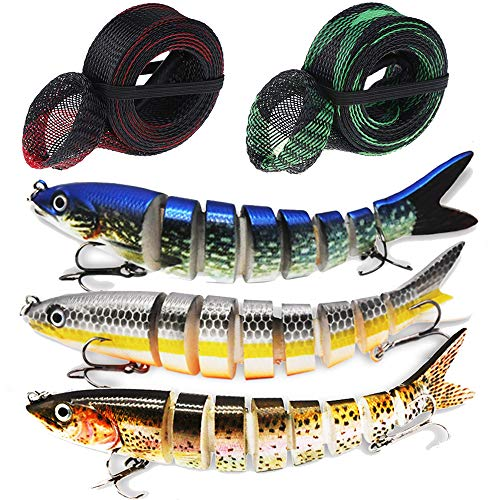 (Fishing Lures Bass Lure, Tackle 6# High Carbon Steel Anchor Hook, 8 Segment 5.35 inches/0.69Oz Lifelike Multi Jointed Artificial Swimbait Fish Tackle Kits with 2 Fishing Rod Sleeve)