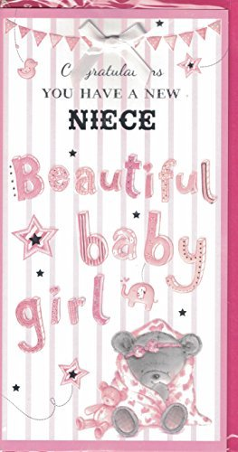 new baby girl card congratulations you have a new niece new baby card for