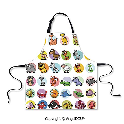 SCOXIXI Adult Kitchen Dinner Party Cooking Apron Funny Cute Cartoon Style Animals Set Colorful Dots Doodle Jungle Life Kids Room Decor Decorative Home Cooking BBQ Apron Cleaning Accessory.