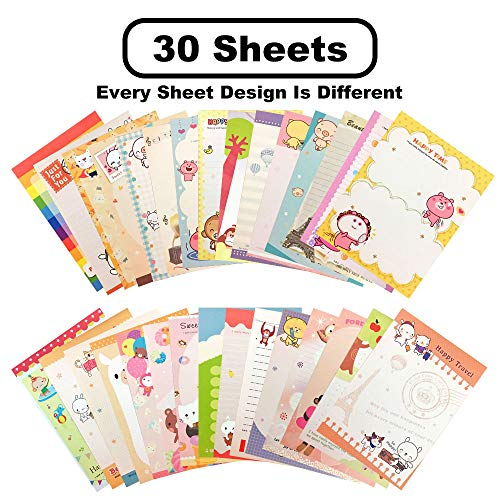 Generic Stationary 8.2 x 5.63 Inches 30 pcs Lovely Kawaii Special Design Chinese Style Stationery Writing Letter Paper Stationary -
