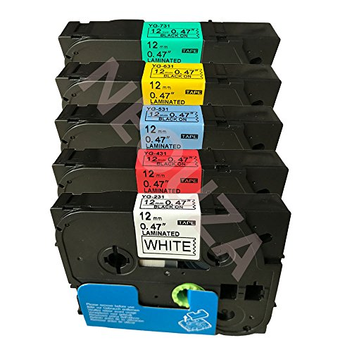 5PK Compatible For Brother P-Touch Laminated Tze Tz Label Tape Cartridge 12mmx8m By ACD.auto (Set of 5 different Colors on White) (Brother Label Fabric compare prices)