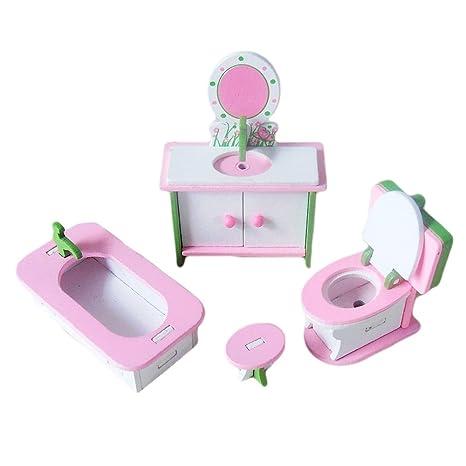 Beetest® - Mini Dollhouse di Legno Mobili Bagno per Case di Barbie ...
