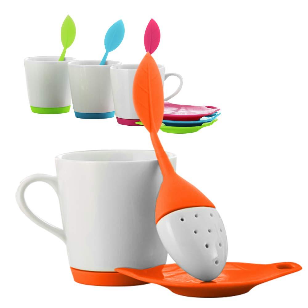 Teabloom LEAFI Ceramic Tea Mug with Leaf Shaped Tea Infuser and Tea Bag Tidy Set - 9oz. Mug – Silicone & Ceramic Loose Leaf Tea Infuser & Tea Bag Drip Tray Set in Shape of Leaf