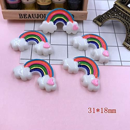 Nisson Resin Cabochon - 5pcs/lot Kawaii Heart Rainbow, Resin Flat Back Cabochons for Hair Bow Center, Phone Decoration,DIY
