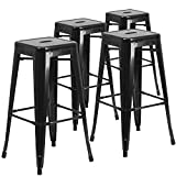 "Flash Furniture 4 Pk. 30"" High Backless Black Metal Indoor-Outdoor Barstool with Square Seat Review"