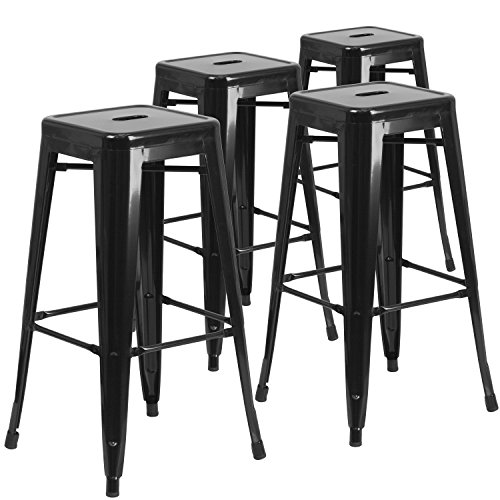 Flash Furniture 4 Pk. 30'' High Backless Black Metal Indoor-Outdoor Barstool with Square Seat - 4-CH-31320-30-BK-GG (Outdoors And Cafe Bar)