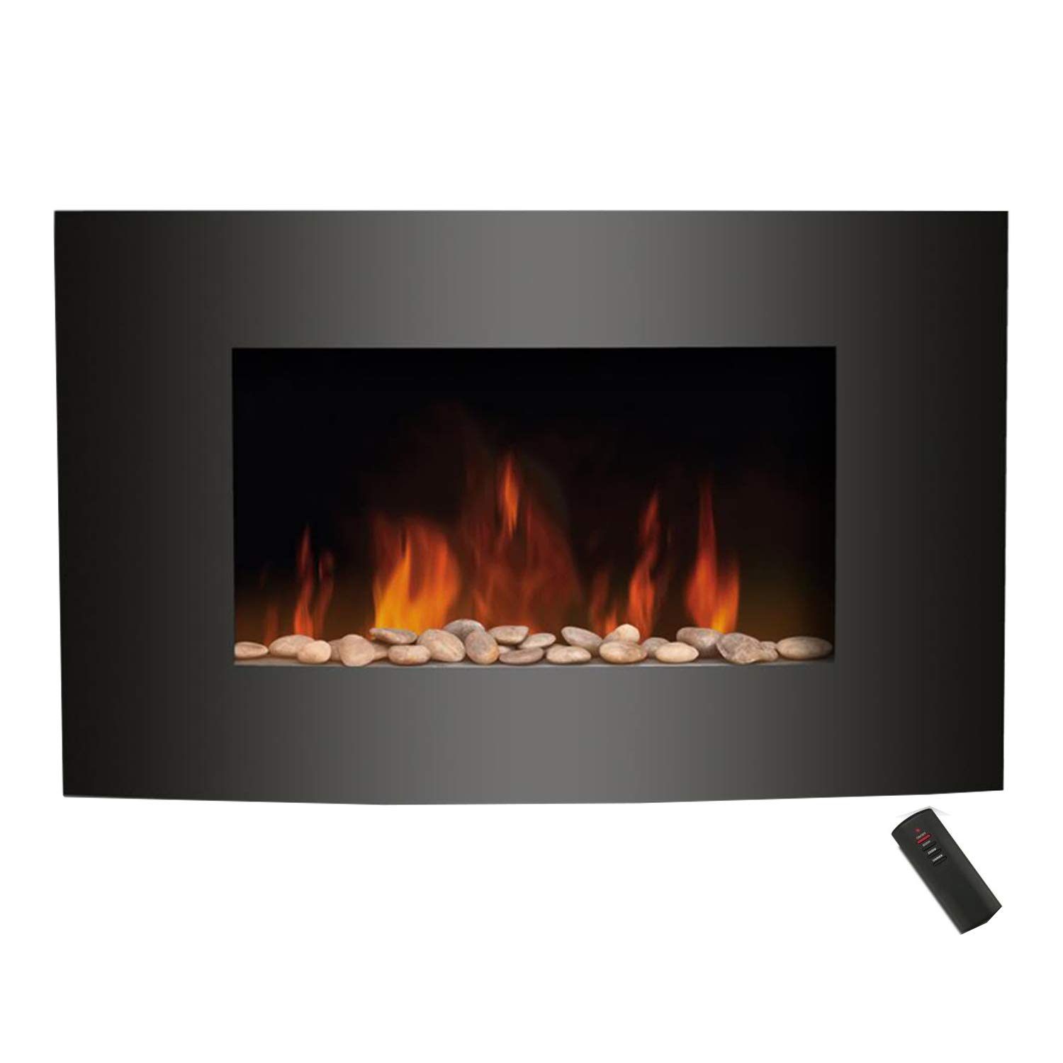 GLOWMASTER Electric Fire Fireplace Curved Black Glass Wall Mounted Flame Living Room Heater GUARANTEED4LESS AGP1204-KNIGHTSBRIDGE