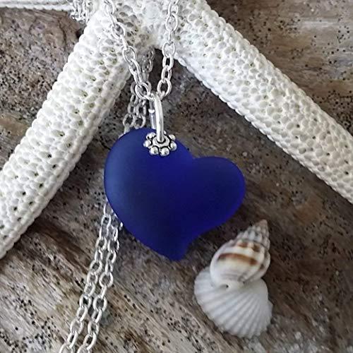 Handmade in Hawaii, Cobalt Sapphire blue heart sea glass necklace,