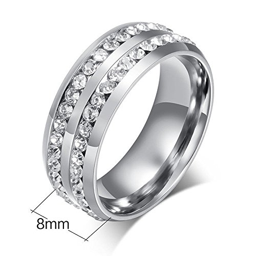 [Cosines Jewelry - Silver Stainless Steel CZ Band Ring Men Women Fashion Party Size 11] (Good Guy Duo Costumes)