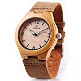 Wooden Watch, Women's Quartz Watch Bamboo Case with Brown Cowhide Leather Strap