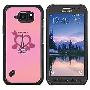EJOOY---Cubierta de la caja de protección para la piel dura ** Samsung Galaxy S6Active Active G890A ** --Bonjour París del amor del corazón de Francia Romance