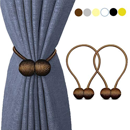 HILELIFE Magnetic Curtain Tiebacks Clips - Window Tie Backs Holders for Home Office Decorative Rope Holdbacks Classic Tiebacks Design, 1 Pair (Brown)