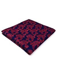 Shlax&Wing Mens Pocket Square Paisley Blue Fuchsia Hanky Handkerchief