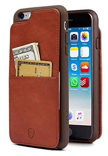 (Vaultskin iPhone 6(S) Plus Case, Eton Armour iPhone 6(S) Plus (5.5) Case Wallet, Slim, Minimalist Genuiner Leather Case - Holds up to 8 Cards/Top Grain Leather (Cognac))