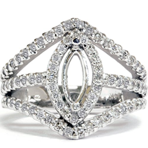 7/8ct Fancy Marquise Diamond Semi Mount Setting Mount Marquise Diamond Semi Mount Ring