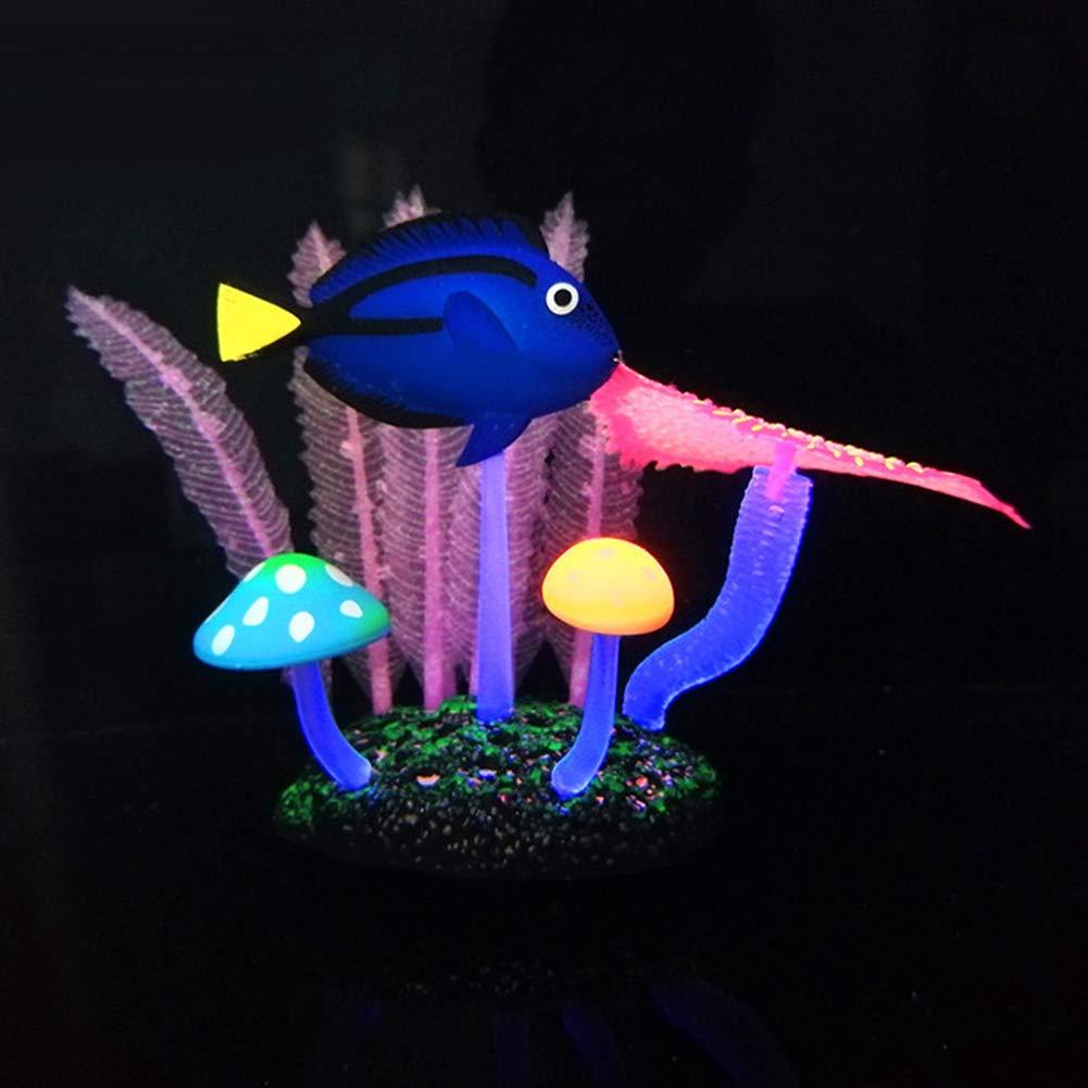 Adorno para Acuario o pecera dise/ño de an/émona de Coral Artificial mAjglgE decoraci/ón Fluorescente de Silicona