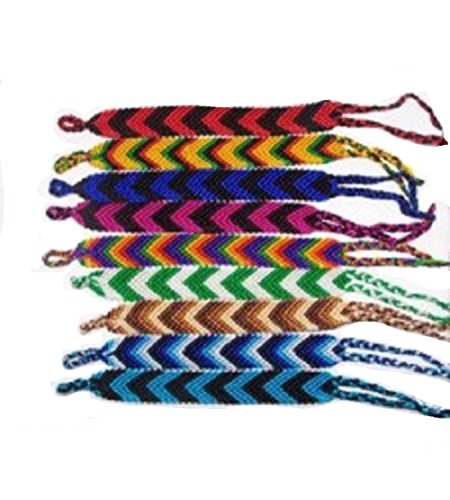 "#4438 Ten Random 1""Wide Artisan Woven Friendship Bracelet Assorted School Peru from Unknown"
