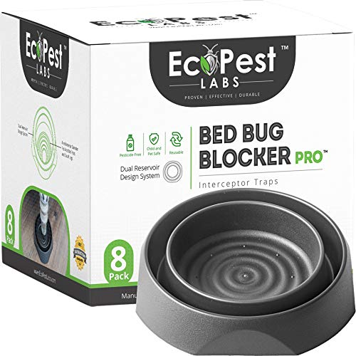 Bed Bug Interceptors - 8 Pack | Bed Bug Blocker (Pro) Interceptor Traps (Black) | Eco Friendly Insect Trap for Bed Legs | No Chemicals or Pesticides | Monitor, Detector, and Trap for Bed Bugs