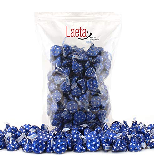 LaetaFood Pack, Hershey's Kisses Blue Star Foils Wrap, Milk Chocolate Candy (2 Pound Bulk Pack) (Blue Kisses Chocolate)