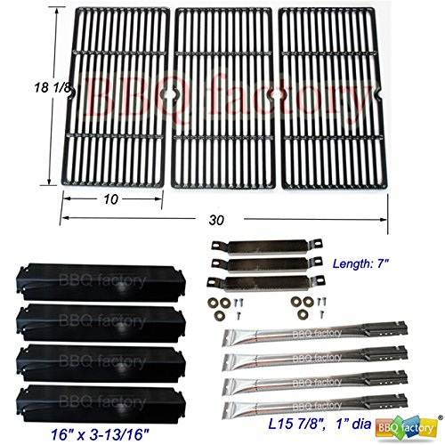 bbq factory® Replacement Charbroil Commercial 463268107 Gas Grill Burner,Carryover Tubes, Heat Plates,Grill Grates
