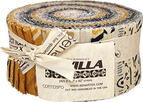 Andrea Komninos Sevilla Mellow Yellow Pinwheel 40 2.5-inch Strips Jelly Roll (Yellow Fabric Strips)