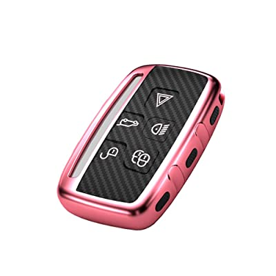 Soft TPU for Land Rover and Jaguar key fob case fit Range Rover Evoque Velar Discovery LR4 Land Rover Sport XF XJ XE F-PACE F-Type fob shell keychain Accessories Carbon Fiber Pattern Pink bag: Automotive