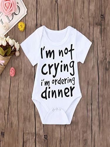 580876c7be6d6 Clearance Sale 0-24 Months Newborn Infant Baby Kids Girl Boy Letter Print  Romper Jumpsuit Sunsuit Outfits Clothes (White B, 6-12 Months)