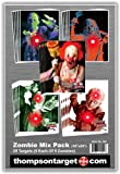 Zombie Mix Assortment - Paper Gun Range Shooting Targets 19x25 Inch (5 Each of 5 Selections) & Free Stand