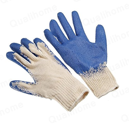 String Knit Latex Palm Dipped / Coated Work Gloves, Blue (12 Pairs)