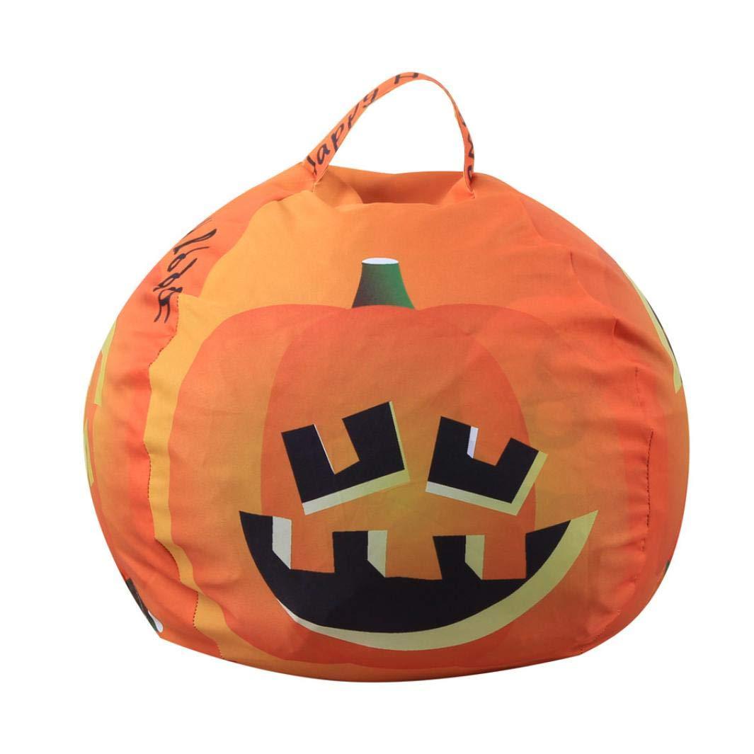 Ecosin Halloween Pumpkin Storage Bean Bag Soft Stripe Fabric Chair Kids Stuffed Animal Toy (Yellow)