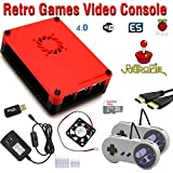 Raspberry Pi 3 based retro games emulation system retropie – 32GB edition with 2x snes type controllers and installed cooling fan For Sale