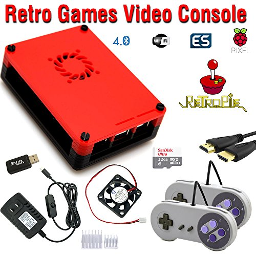 CrispConcept Raspberry Pi 3 Model B+ (B Plus) Based Retro Games Emulation System retropie - 32GB Edition with 2X SNES Type Controllers and Installed Cooling Fan