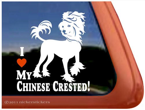 I Love My Chinese Crested Dog Vinyl Window Decal Sticker
