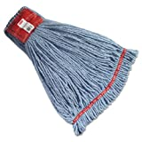 Rubbermaid Commercial RCP A253 BLU Web Foot Wet Mop Heads, Shrinkless, Cotton/Synthetic, Large, Blue (Pack of 6)