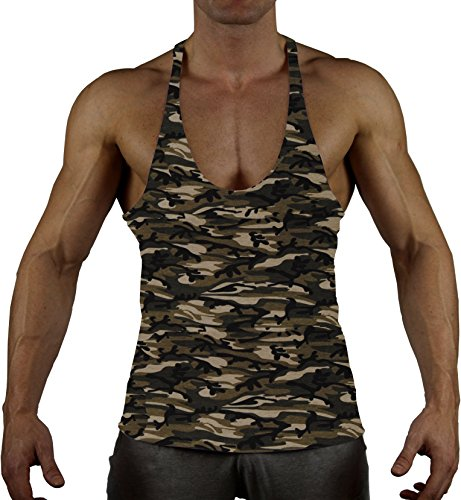 99GYM Version2 MOSTMUSCULAR CUT Bodybuilding Stringer muscle Muskel Shirt (L, Classic Army)