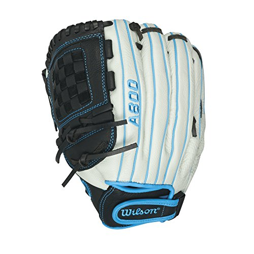 Wilson Aura Game Ready Fastpitch Softball Gloves, Ivory/Electric Blue, 12'', Left Hand Throw by Wilson