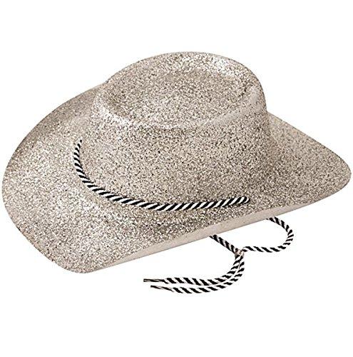 Bristol Novelty BH632 Cowboy Glitter Hat, Womens, Silver, One -