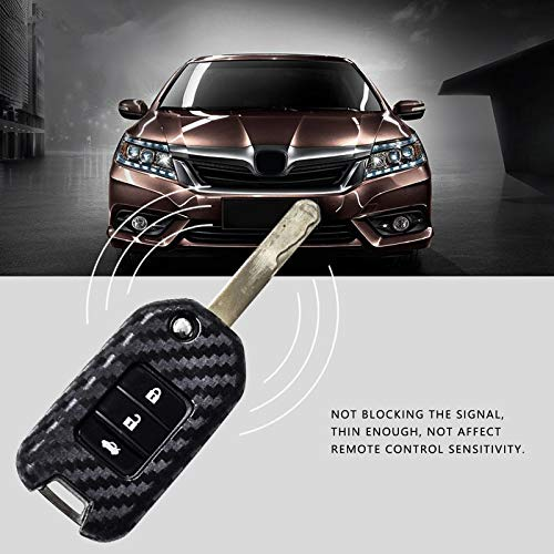L-TAO 2Pack Carbon Fiber Silicone car Key case for Honda Civic Accord Odyssey Carbon Fiber Grain Fold Shell Accessories