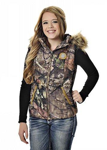GWG: Girls With Guns Women's Fur Vest, Large, Mossy Oak Treestand/Orange