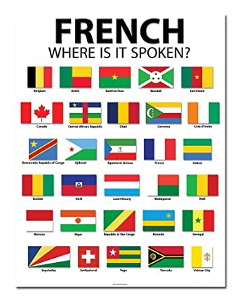 """Amazon.com: French Speaking Countries - 20"""" x 26"""