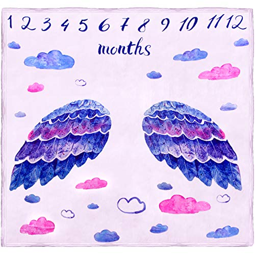 Monthly Milestone Blanket by Baby Gem Gear, Soft Premium Fleece, Adorable Angel Photography Background, Perfect for Boy or Girl, 47