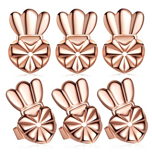 Hypoallergenic Earring Lifters Drooping Earring Backs, Large Post Stud Earring Backings Rose Gold Plated 3 Pairs/Set