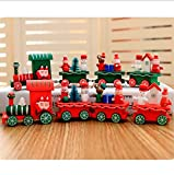 UChic 2PCS Christmas Decoration For Home Little Train Papular Wooden Train Decor Christmas DIY Home Decoration Accessories Ornaments Supplies 2Color