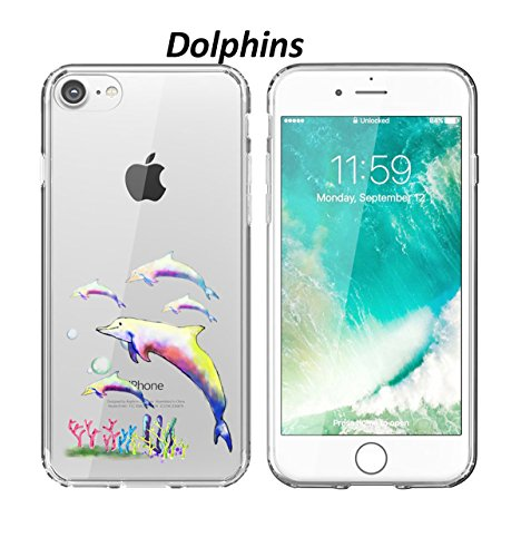 8 Case Dolphin Design Clear Transparent Protective Bumper Tpu Soft Phone Case Slim Fit 4.7