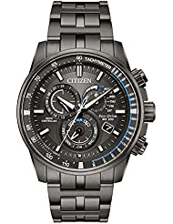 Mens Citizen Perpetual Chrono A-T Charcoal Grey Dial and Stainless Steel Bracelet Watch AT4127-52H