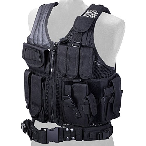 REEHUT Breathable Tactical Vest with Numerous Pouches - Combat Training Vest Adjustable for Adults Suitable for Special Mission, Combat Training, Field Operations and Military Fans