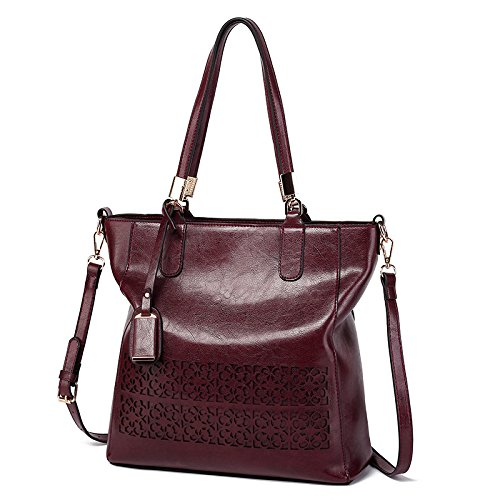 Rouge Schultertasche Handtaschen Frauen foncé Aushöhlen Handtaschen Occasionnels KLXEB Umhängetasche Designer An8xBWWZf